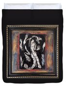 Dragon Lion Repousse And Chasing By Alfredo Garcia Art - Original Mixed Media Modern Abstract Painti Duvet Cover