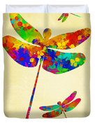 Dragonfly Watercolor Art Duvet Cover