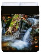 Dragons Teeth Icicles Waterfall Great Smoky Mountains Painted  Duvet Cover