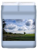 Dramatic Blustery Sky Over The Hayfield Duvet Cover