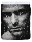Dramatic Portrait Of Man Wet Face Black And White Duvet Cover