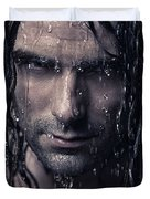 Dramatic Portrait Of Man Wet Face With Long Hair Duvet Cover by Oleksiy Maksymenko