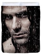 Dramatic Portrait Of Young Man Wet Face With Long Hair Duvet Cover