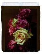 Dramatic Purple And Yellow Roses Duvet Cover