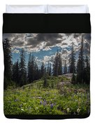 Dramatic Rainier Flower Meadows Duvet Cover
