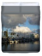 Dramatic Tropical Storm Light Over Honolulu Hawaii  Duvet Cover