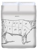 Drawing Of A Bullock Marked To Show Eighteen Different Cuts Of Meat Duvet Cover by English School