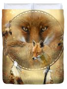 Dream Catcher- Spirit Of The Red Fox Duvet Cover by Carol Cavalaris