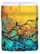 Dream Watchers Original Abstract Bird Painting Duvet Cover