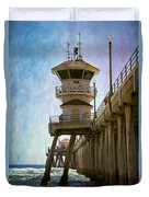 Dreamy Day At Huntington Beach Pier Duvet Cover