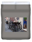 Dressing Up The Bicycle Stand Duvet Cover