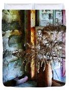 Dried Flowers On Windowsill Duvet Cover