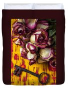 Dried Pink Roses And Key Duvet Cover