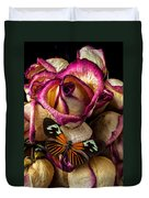 Dried Rose And Butterfly Duvet Cover
