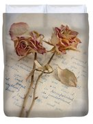 Dried Roses And Vintage Letter Duvet Cover