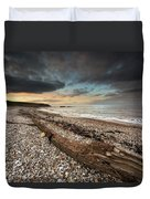 Driftwood Laying On The Gravel Beach Duvet Cover
