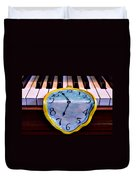 Dripping Clock On Piano Keys Duvet Cover by Garry Gay