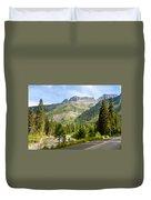 Driving Through Glacier National Park Duvet Cover