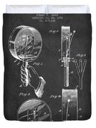 Droop Hand  Drum Patent Drawing From 1892 - Dark Duvet Cover