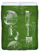 Droop Hand  Drum Patent Drawing From 1892 - Green Duvet Cover