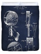 Droop Hand  Drum Patent Drawing From 1892 - Navy Blue Duvet Cover