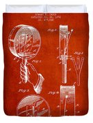 Droop Hand  Drum Patent Drawing From 1892 - Red Duvet Cover