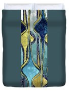 Droplet Ornaments In Navy Blue And Gold Duvet Cover