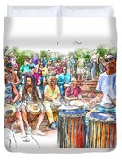 Drum Circle Of Friends Duvet Cover