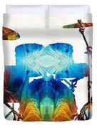 Drum Set Art - Color Fusion Drums - By Sharon Cummings Duvet Cover