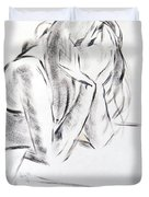 Dry Brush Painting Of A Young Womans Face Duvet Cover