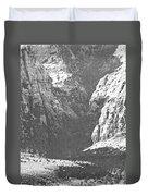 Dry Desert Waterfall Pencil Rendering Duvet Cover