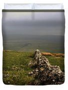 Drystone Wall  Misty Day Kettlewell Wharfedale North Yorkshire England Duvet Cover