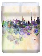 Dubai Skyline In Watercolour Background Duvet Cover