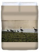 Duck Family Panorama Duvet Cover by Bill Cannon