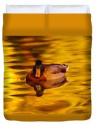 Duck On Golden Water Duvet Cover
