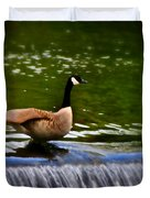 Duck On The River Wye Waterfall - In Bakewell Peak District - England Duvet Cover