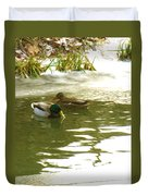 Duck Swimming In A Frozen Lake Duvet Cover