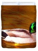 Duck Swimming On Golden Pond Duvet Cover