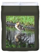 Duckling With Reflection Duvet Cover