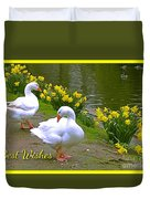 Ducks And Daffodils Greeting Duvet Cover