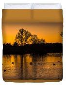 Ducks At Sunrise On Golden Lake Nature Fine Photography Print  Duvet Cover