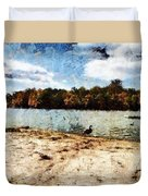 Ducks At The Beach Again Duvet Cover