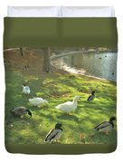 Ducks At The Park Duvet Cover