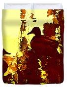 Ducks On Red Lake 3 Duvet Cover
