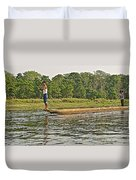 Dugout Canoe In The Rapti River In Chitin National Park-nepal Duvet Cover