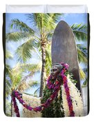 Duke Kahanamoku Covered In Leis Duvet Cover by Brandon Tabiolo