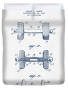 Dumbbell Patent Drawing From 1935  -  Blue Ink Duvet Cover