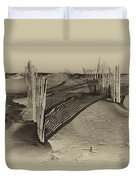 Dune Erosion Fence Outer Banks Nc Antique Plate Img_3761 Duvet Cover