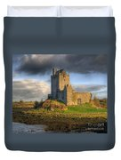 Dunguaire Castle With Dramatic Sky Kinvara Galway Ireland Duvet Cover