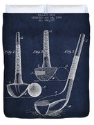 Dunn Golf Club Patent Drawing From 1900 - Navy Blue Duvet Cover